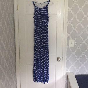 Chico's Blue/White Striped maxi dress SZ 1
